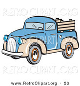 Retro Clipart of a Blue and Tan Pickup Truck on White by Andy Nortnik