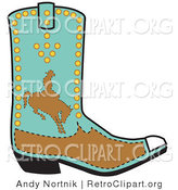 Retro Clipart of a Blue Boot Showing a Brown Silhouetted Cowboy Riding a Bucking Bronco by Andy Nortnik