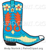 Retro Clipart of a Blue Cowboy Boot with Orange and Yellow Floral Designs by Andy Nortnik