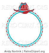 Retro Clipart of a Blue Cowboy Lasso and Hat in a Circle by Andy Nortnik