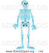 Retro Clipart of a Blue Human Skeleton Standing Upright on a Solid White Background by Andy Nortnik