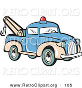Retro Clipart of a Blue Toy Tow Truck with a Hook on the Tailgate by Andy Nortnik