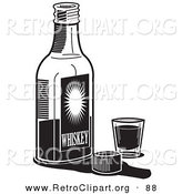 Retro Clipart of a Bottle of Whiskey by a Shot Glass in a Bar over White by Andy Nortnik