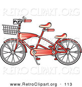Retro Clipart of a Brand New Red Tandem Bicycle with a Basket on the Front over White by Andy Nortnik