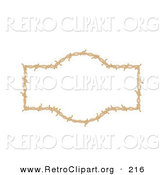 Retro Clipart of a Brown Border Frame of Barbed Wire over a Solid White Background by Andy Nortnik