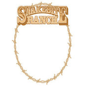 Retro Clipart of a Brown Oval Frame Made of Barbed Wire on a Snakebite Ranch Sign by Andy Nortnik