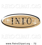 Retro Clipart of a Brown Oval Info Website Button That Could Link to an Information Page on a Site by Andy Nortnik