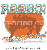 Retro Clipart of a Brown Silhouette of a Cowboy Man Riding a Bucking Bronco in a Rodeo Advertisement by Andy Nortnik