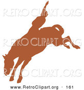 Retro Clipart of a Brown Silhouette of a Cowboy Riding a Bucking Bronco and Holding One Arm up in the Air in a Rodeo on White by Andy Nortnik