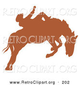 Retro Clipart of a Brown Silhouette of a Cowboy Riding a Bucking Bronco in a Country Rodeo by Andy Nortnik