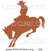Retro Clipart of a Brown Silhouette of a Cowboy Riding a Bucking Bronco in a Rodeo Looking Left by Andy Nortnik