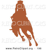 Retro Clipart of a Brown Silhouetted Cowboy Riding a Bucking Bronco in a Rodeo to the Left by Andy Nortnik
