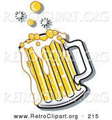 Retro Clipart of a Bubbly and Frothy Glass Mug of Beer Spilling over the Rim of a Mug by Andy Nortnik