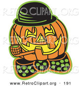 Retro Clipart of a Carved Jack O Lantern Pumpkin Wearing a Hat and Bowtie and Grinning While Smoking a Pipe by Andy Nortnik