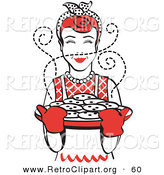 Retro Clipart of a Cheerful Red Haired Housewife Wearing an Apron and Oven Gloves, Smelling Fresh, Hot Chocolate Chip Cookies Right out of the Oven by Andy Nortnik