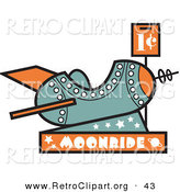 Retro Clipart of a Childrens Rocket Ride to the Moon Arcade Machine, with a Coin Slot for One Cent by Andy Nortnik