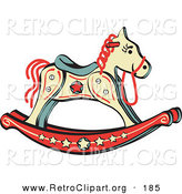 Retro Clipart of a Child's Rocking Horse with Star Decorations on White by Andy Nortnik