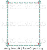 Retro Clipart of a Christmas Stationery Border of Holly Leaves and Berries Around a White Background Retro Clipart Illustration by Andy Nortnik
