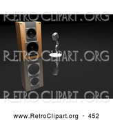 Retro Clipart of a Chrome Retro Microphone Beside a Speaker on a Dark Reflective Surface by KJ Pargeter