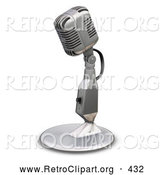 Retro Clipart of a Chrome Vintage Old Fashioned Microphone with a Little Table Top Stand, on a White Background by KJ Pargeter