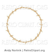Retro Clipart of a Circular Border Frame of Barbed Wire over a Solid White Background by Andy Nortnik