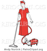 Retro Clipart of a Clean Red Haired Housewife or Maid Woman in a Long Red Dress and Heels, Using a Canister Vacuum to Clean the Floors by Andy Nortnik