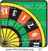 Retro Clipart of a Colorful Roulette Wheel in a Casino on a Green Table by Andy Nortnik
