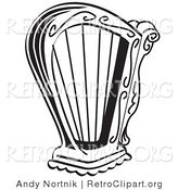 Retro Clipart of a Coloring Page of a Black and White Harp Instrument over a White Background by Andy Nortnik