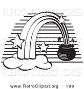 Retro Clipart of a Coloring Page of a Pot of Gold at the End of a Rainbow with Stars by Andy Nortnik