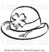 Retro Clipart of a Coloring Page of a St Paddy's Day Hat with a Clover on It by Andy Nortnik