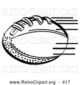 Retro Clipart of a Coloring Page of an American Football Rushing Through the Air During a Game by Andy Nortnik