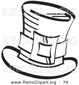 Retro Clipart of a Coloring Page of an Irish Leprechaun's Tophat with a Buckle in Black and White by Andy Nortnik