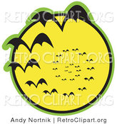Retro Clipart of a Continuous Vortex Spiral of Black Halloween Vampire Bats Flying in Silhouette Against a Bright Full Yellow Moon and Slowly Disappearing in the Distance Clipart Illustration by Andy Nortnik