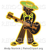 Retro Clipart of a Cool Black Cat Playing a Guitar on Stage by Andy Nortnik