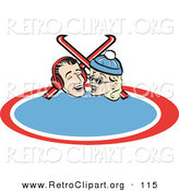 Retro Clipart of a Cute and Happy Laughing Couple with Skis Retro by Andy Nortnik
