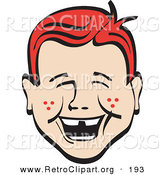 Retro Clipart of a Cute and Happy Red Haired Freckled Boy with Missing Front Teeth, Laughing Retro by Andy Nortnik