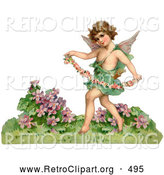 Retro Clipart of a Cute Cupid Playfully Running Through a Garden and Carrying a Garland of Flowers, Circa 1888 by OldPixels