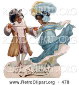 Retro Clipart of a Cute Romantic Black Couple in Beautiful Clothing, Ballroom Dancing, Circa 1890 by OldPixels