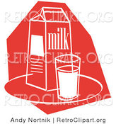 Retro Clipart of a Dairy Still Life of a Whole Glass of Milk by a Milk Carton by Andy Nortnik