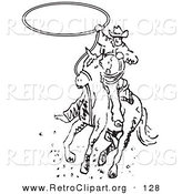 Retro Clipart of a Determined Roper Cowboy on a Horse Swinging a Lasso to Catch a Cow or Horse by Andy Nortnik