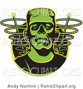 Retro Clipart of a Face of a Green Frankenstein Monster by Andy Nortnik