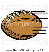 Retro Clipart of a Fast Brown Leather American Football Speeding Through the Air During a Game on White by Andy Nortnik