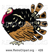 Retro Clipart of a Fat and Chubby Brown, Black and Red Turkey Bird with His Head Tucked in His Neck by Andy Nortnik