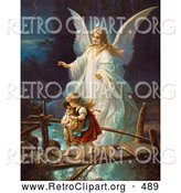 Retro Clipart of a Female Guardian Angel Protecting a Little Girl and Her Brother As They Cross over a River on a Narrow Dangerous Broken Bridge, Circa 1890 by OldPixels