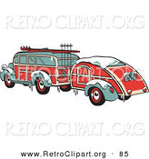 March 26th, 2013: Retro Clipart of a Festive Green and Red Woody Car Hauling a Trailer and Carrying Skis and Poles on the Roof Retro by Andy Nortnik
