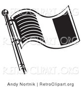 Retro Clipart of a Flag of Ireland on a Flagpole in Black and White by Andy Nortnik