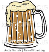 Retro Clipart of a Foaming Pint of Beer by Andy Nortnik