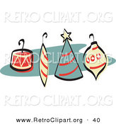 Retro Clipart of a Four Colorful Christmas Tree Ornaments with Hooks Retro by Andy Nortnik