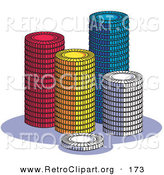 Retro Clipart of a Four Stacks of Red, Yellow, Blue and White Poker Chips in a Casino by Andy Nortnik
