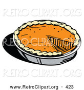 Retro Clipart of a Fresh Thanksgiving Pumpkin Pie in a Pan, Missing One Slice on White by Andy Nortnik